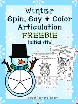 FREEBIE! These Winter Spin, Say & Color Articulation worksheets can be used in speech therapy or you can send them home for homework! Targets the initial /th/ sound.