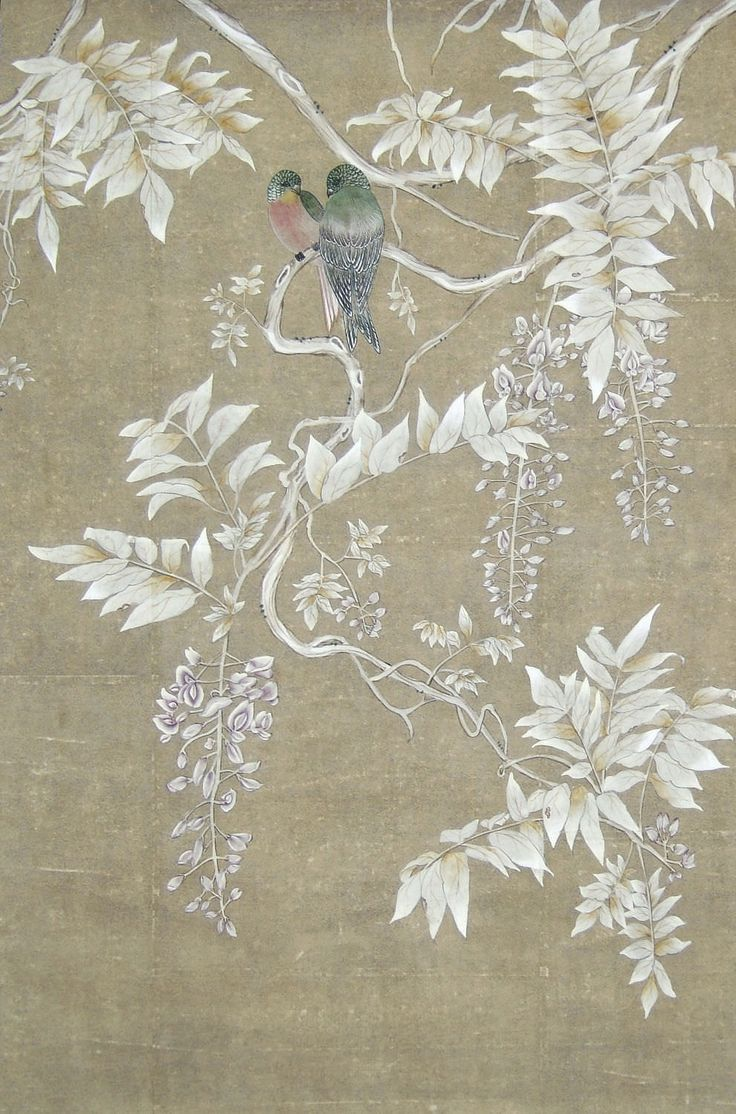 Traditional wallpaper / floral / animal motif / chinoiserie - BIRDS IN THE SHADE : TR-88 - Paul Montgomery Studio