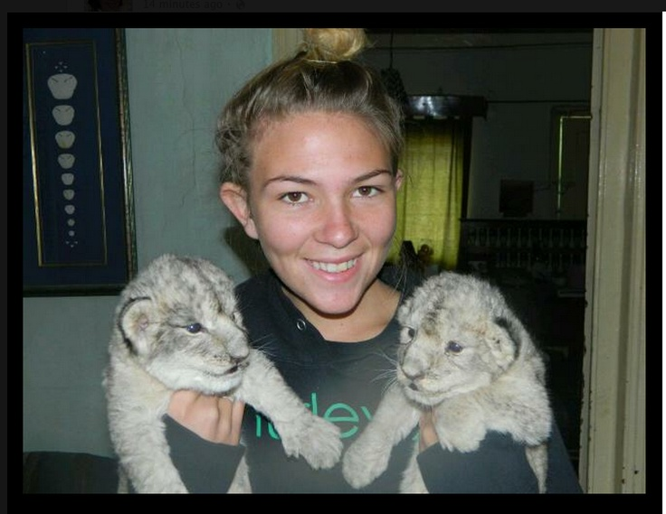 Tina and 2 of the white cubs. — in Jansenville, Eastern Cape, South Africa  http://www.facebook.com/pages/Alisons-Favorite-Things/201025116635827