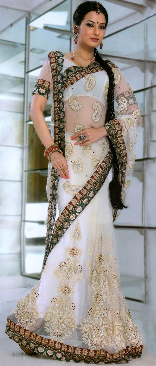 Off White Net #Saree With #Blouse