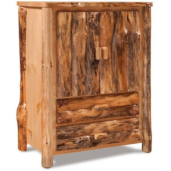 Amish Log Furniture Rustic Pine Armoire ($1,200) ❤ Liked On Polyvore  Featuring Home,