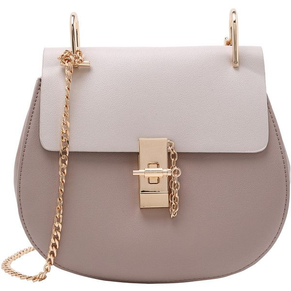 Contrast Faux Leather Chain Saddle Bag - Grey ($28) ❤ liked on Polyvore featuring bags, handbags, shoulder bags, grey, shoulder bag purse, gray purse, grey shoulder bag, vegan handbags and gray shoulder bag