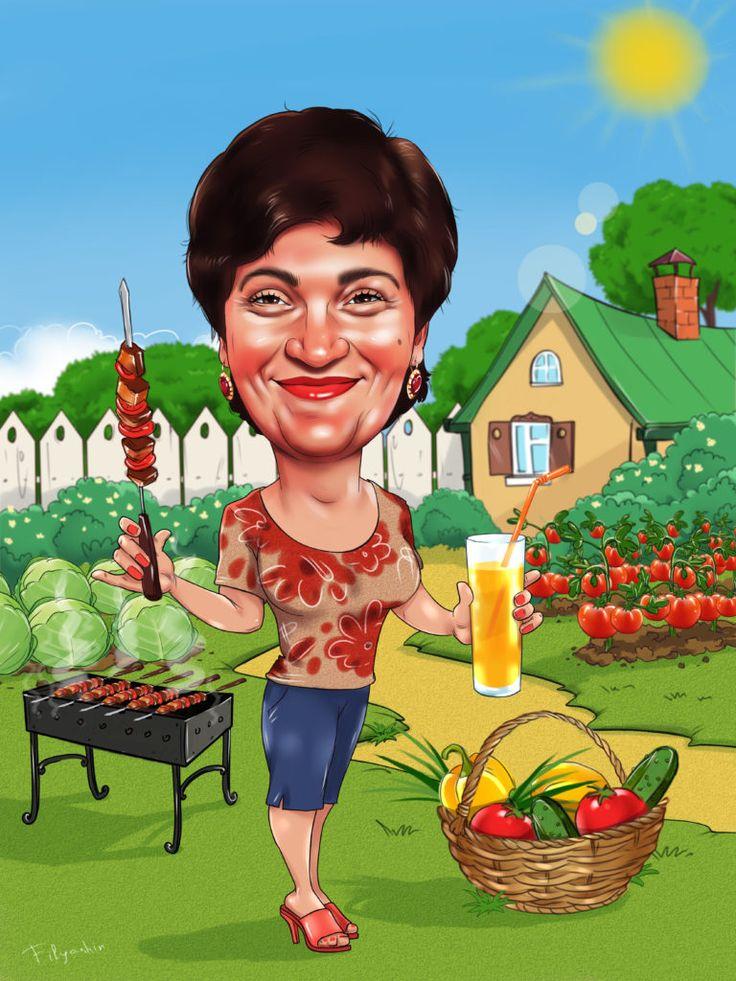 Женщина в огороде картинки прикольные шарж, для настроения
