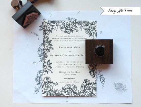 DIY Tutorial: Rubber Stamp Floral Wedding Invitations | Place a sheet of regular text weight paper underneath your preprinted invitation. Using border stamps, begin stamping the motifs around the border, making sure not to cover any text.  Be sure to stamp off of the page, giving the invitation a full bleed effect.  Click to see awesome professional results and for full instructions!