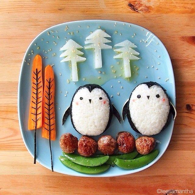 Lee Samantha, Food Artist ngredients 1. Penguins - Onigiri - Nori 2. Trees  - Carrots (orange trees) - White radish (white x'mas trees) - Nori