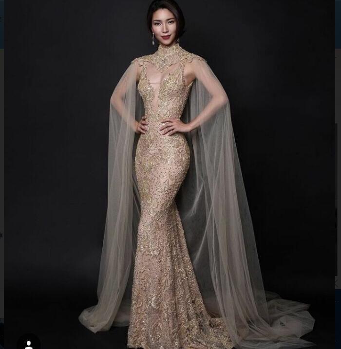 Evening dress Yousef aljasmi Kim kardashian High neck Gold