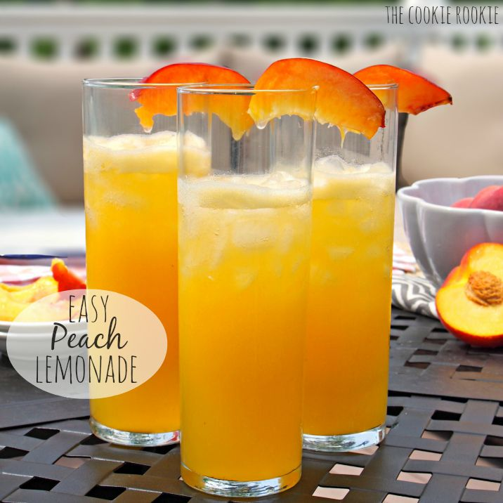 Easy 2 INGREDIENT Peach Lemonade. Perfect refreshing summer beverage. Cocktail and NonAlcoholic versions!- The Cookie Rookie