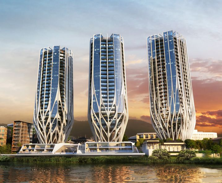 Zaha hadid architects unveil trio of blossoming residential towers on brisbane riverfront - Modern architectural trio ...