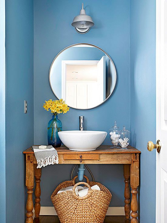 Baños Elegantes Pequenos:Blue and Powder Room Vanity