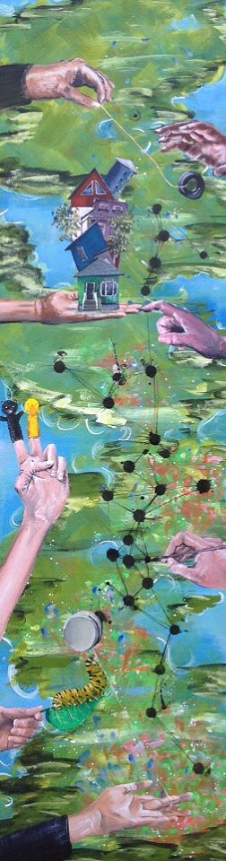 Brina Schenk - painting in progress - hold on - tall and narrow canvas