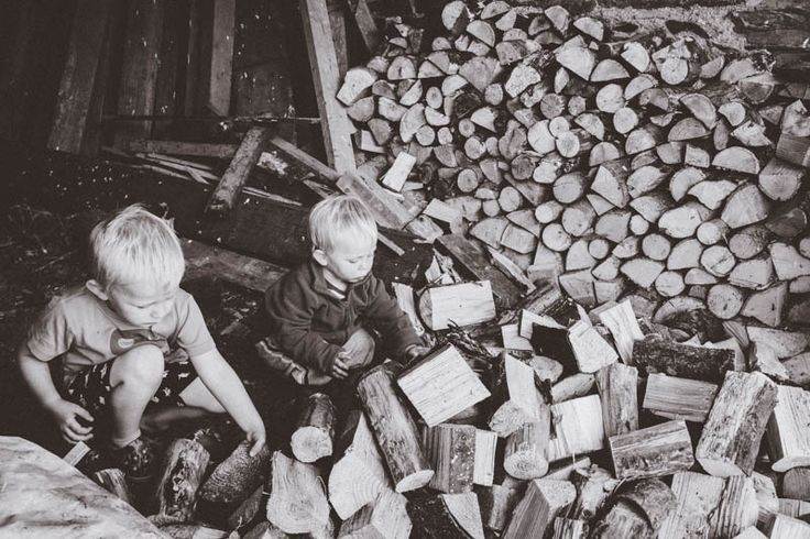 5. Black and White Photography - Stacking Logs
