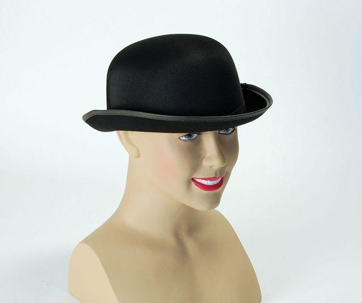 Black Bowler Hat Satin Finish