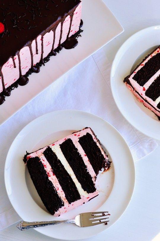 Dark Chocolate & Raspberry Buttercream Cake with Ganache Drizzle ~ sinful soft chocolate cake