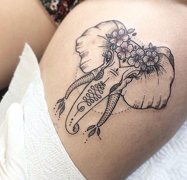 Tatouage, éléphant, couronne de fleurs, unalome, cuisse, encre noire