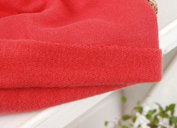 Cepillado de tela naranja rojo punto de Terry francés por landofoh