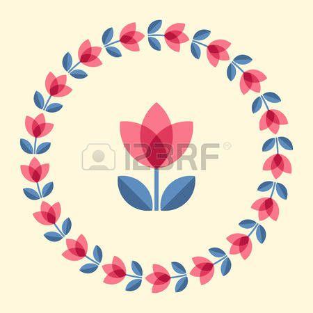 Scandinavian folk style flower in round floral ornamented frame. Design elements for floral pattern. Vector illustration. photo
