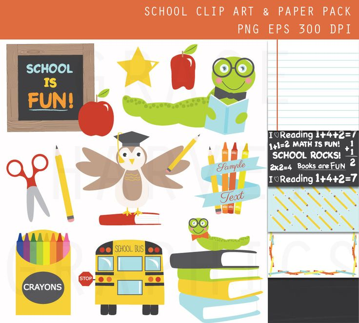 School Clip Art Small Commercial Use EPS PNG Digital Illustrations, Instant Download Lesson Planning School is Fun Clip Art Digital Paper by GraceGraphicDesign on Etsy https://www.etsy.com/uk/listing/180418719/school-clip-art-small-commercial-use-eps