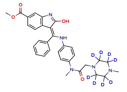 Nintedanib D8 Nintedanib is a medication used for the treatment of idiopathic pulmonary fibrosis (IPF) and along with other medications for some types of non-small-cell lung cancer. #DeuteratedNintedanib #LabelledNintedanib #Newproduct #stableisotopes #inhibitor #clearsynthNintedanibD8 #isotoperesearch