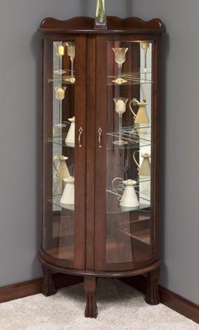 corner curio cabinets, solid wood corner curio cabinet, handcrafted solid  wood corner curio