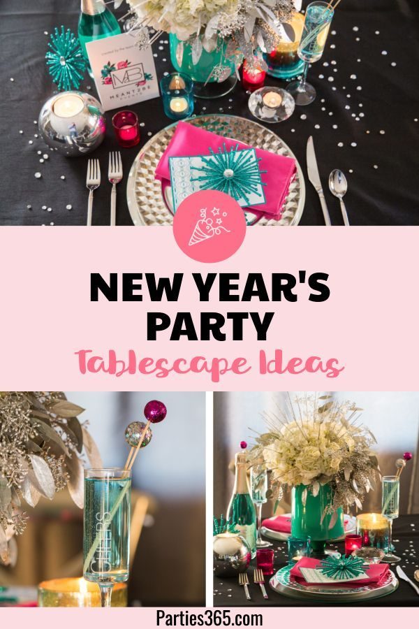 Modern Bright New Year S Party Tablescape Parties 365 Party Tablescapes Fun Table Settings New Years Party Themes