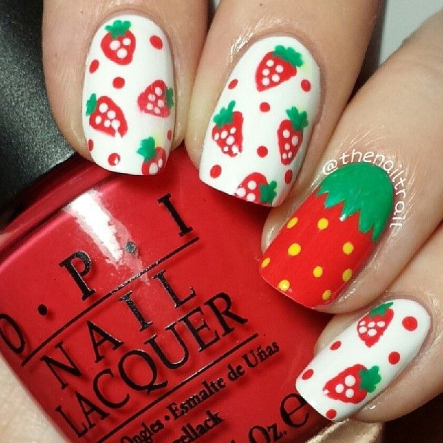 138 best strawberries images on pinterest strawberry strawberry themed nail art prinsesfo Image collections