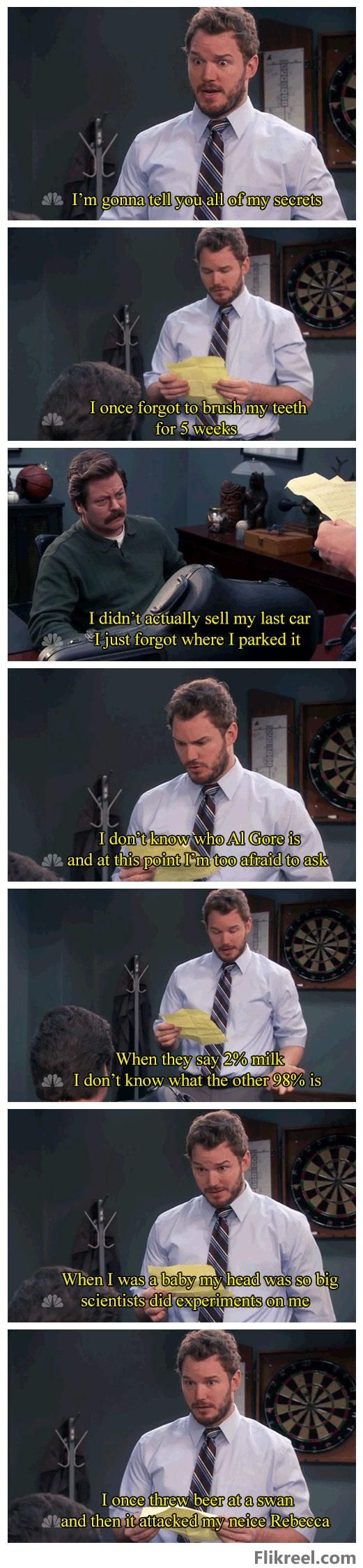 Andy's secrets ~ Parks and RecreationParks And Recreation, Funny Image, Andy Dwyer, Funny Pics, Funny Pictures, Funny Quotes, Andy Secret, Funny Photos, Andy'S Secret