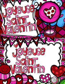 French Valentine's Day Cards or Gift Tags for students ♥ Joyeuse Saint Valentin ♥ 12 different colour designs to print, cut & go!