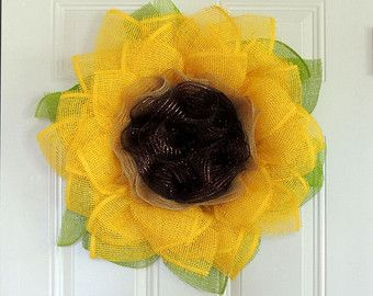 Sunflower Wreath Yellow Paper Mesh by WelcomingWreathsMore on Etsy