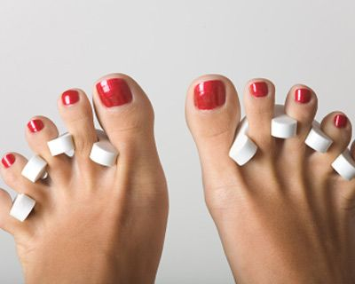 Pedicure.  Toes are ALWAYS painted, especially if they are going to be shown. Naked toesnails= ugly.