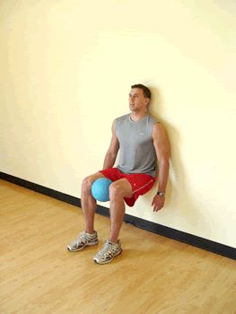 Wall Sit with Medicine Ball Squeeze. Tones your whole lower body!