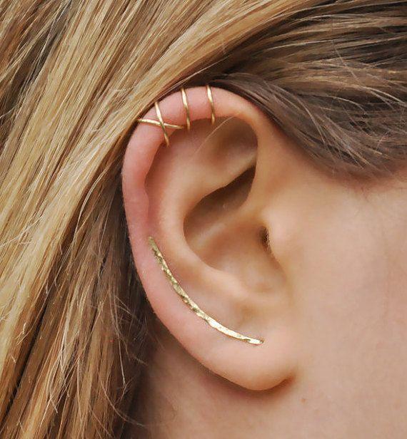 Modern Minimalist Set of 3 - Ear Climber, Ear Cuff, Double Ear Cuff, Earring Climbers 30mm, Criss Cross Cuff, Climber Earrings, Gold Crawler