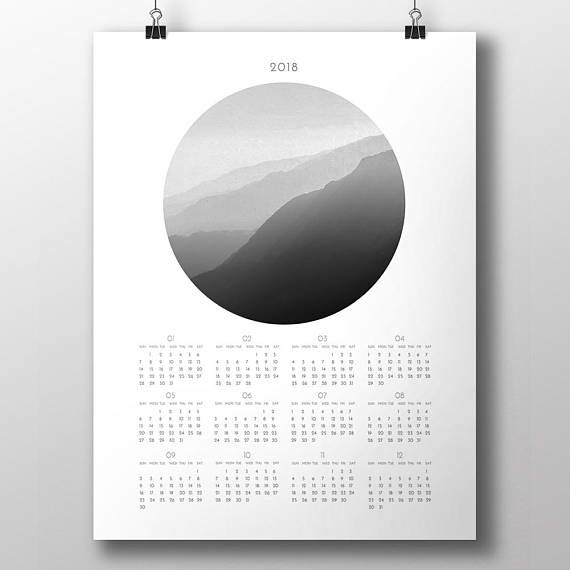 Scandinavian style 2018 annual calendar. This design is a beautiful, artistic printable wall calendar for digital download. A modern and minimalist instant wall/desk decor for your home!  ---- THE FILES YOU RECEIVE ----  After purchasing the item you will be able to instantly download