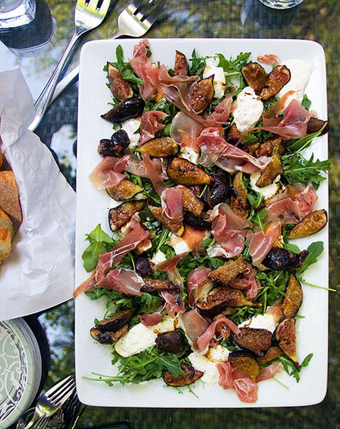 Grilled Figs Prosciutto and Burrata Salad/Appetizer • by Panning The Globe
