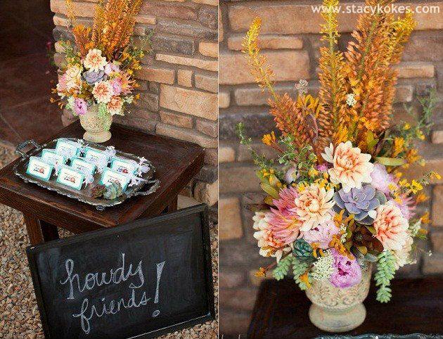 chic western welcome table - lots of cute western themed party ideas