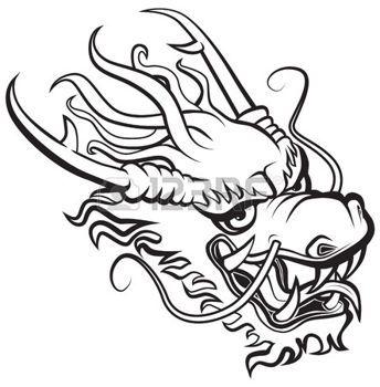 tatouage chinois: Tête de Dragon. Illustration originale inspirée avec les arts traditionnels du dragon chinois et japonais.