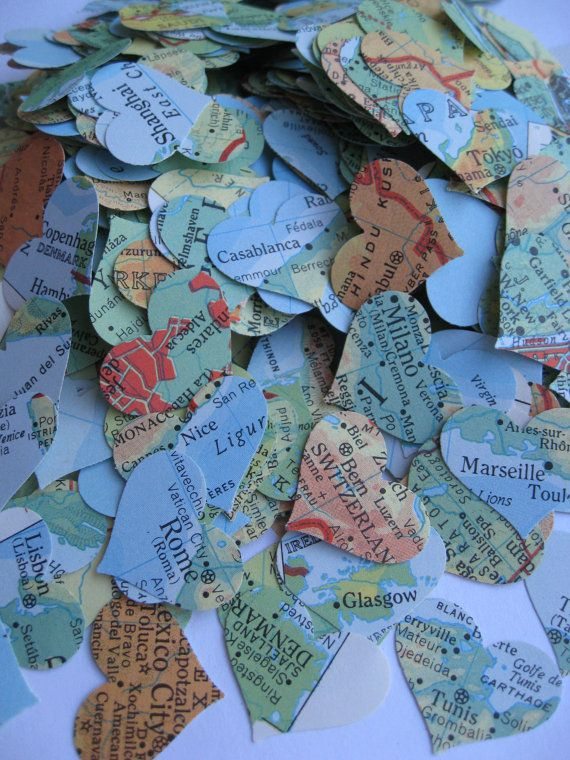 1000 Vintage Map Confetti. Bright Blue, Orange, Yellow, Green, Red, Etc. World Map. Or CHOOSE YOUR MAP. Heart Shaped. Custom Orders Welcome....