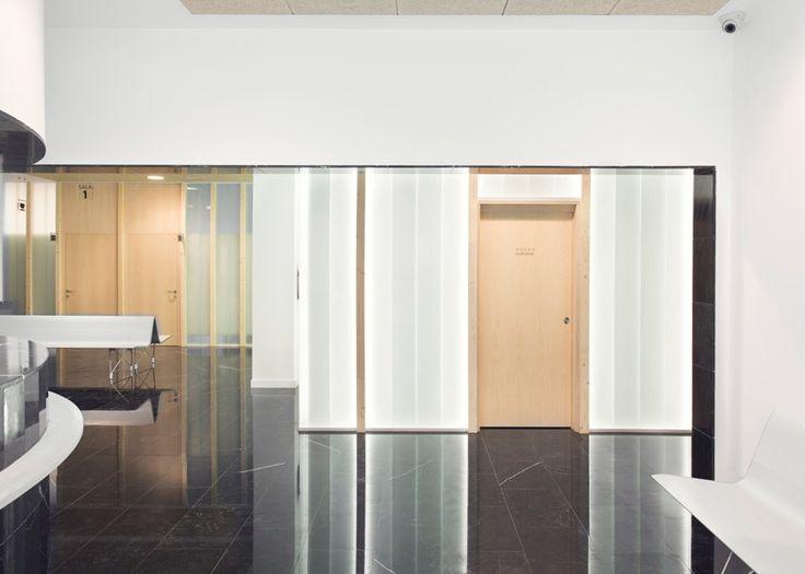 Le verre givré et les murs foncés de marbre divisent le centre médical de Sendagrup par Pauzarq