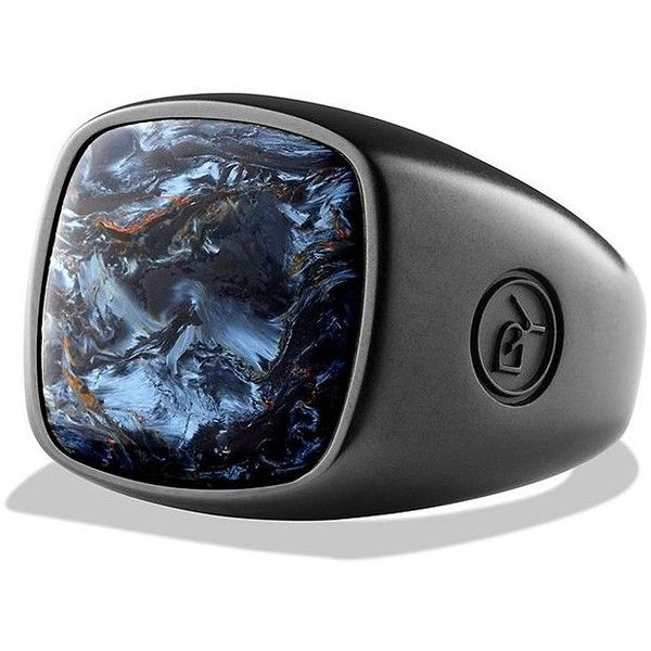 David Yurman Exotoc Stone Pietersite Ring ($575) ❤ liked on Polyvore featuring men's fashion, men's jewelry and men's rings
