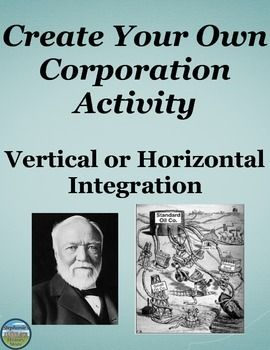 Students learn how a company became a corporation by horizontally or vertically integrating in the Gilded Age. There are 14 questions for students to answer to see the two different ways a company could become a corporation. They then create their own company and illustrate how it will become a corporation and by which method, vertical or horizontal integration. The instructions are thorough enough to guide the students through the activity.