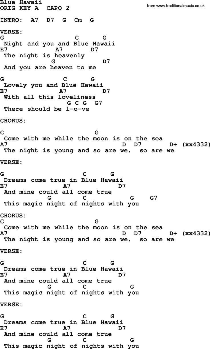 Blue Hawaii Ukulele In 2019 Song Lyrics Chords