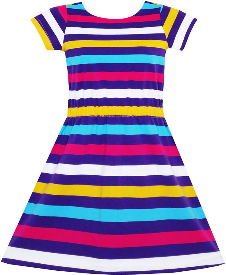 Girls Dress Colorful Striped Knitted Cotton Stretch O-Neck Size 4-10…