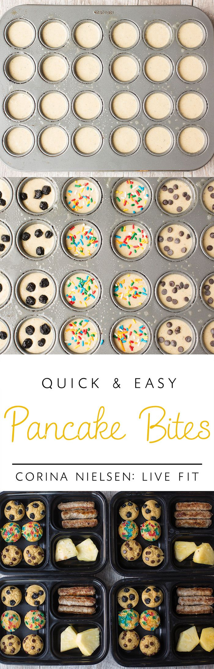 Make Ahead Breakfasts for Kids! These protein packed pancake bites are easy…