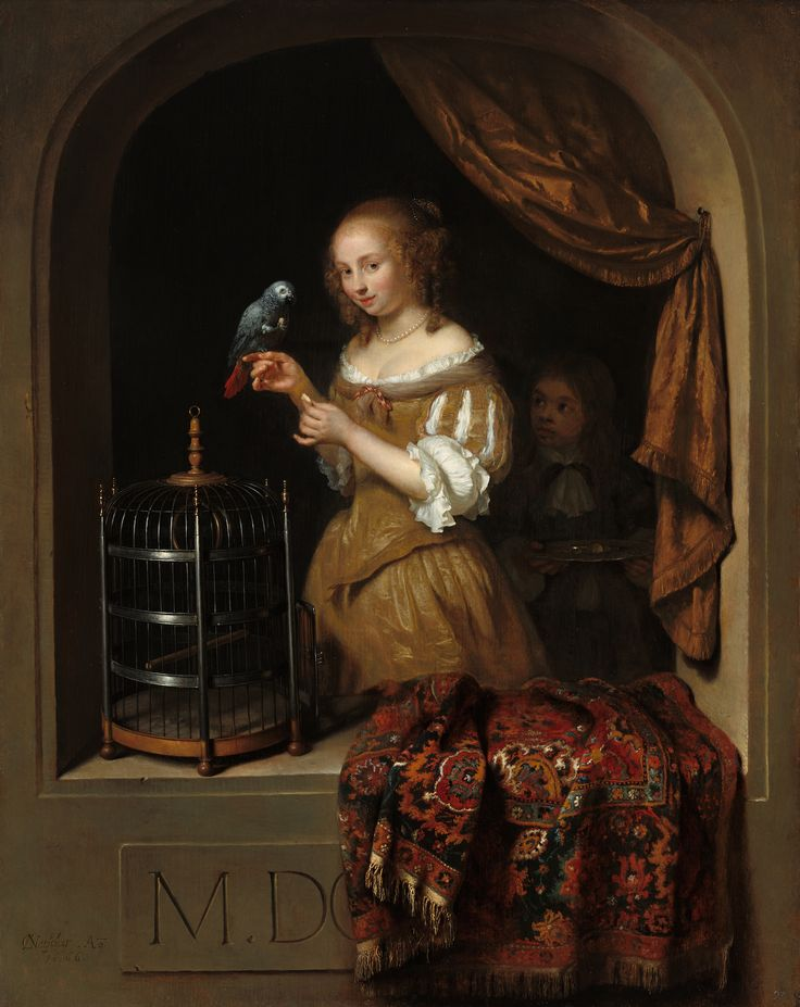 """Caspar Netscher, """"Woman Feeding a Parrot, with a Page"""" (1666), oil on panel (courtesy National Gallery of Art, Washington, the Lee and Juliet Folger Fund)"""