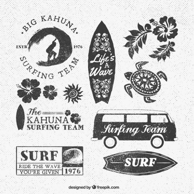 Lets go surfing logotype/stamps