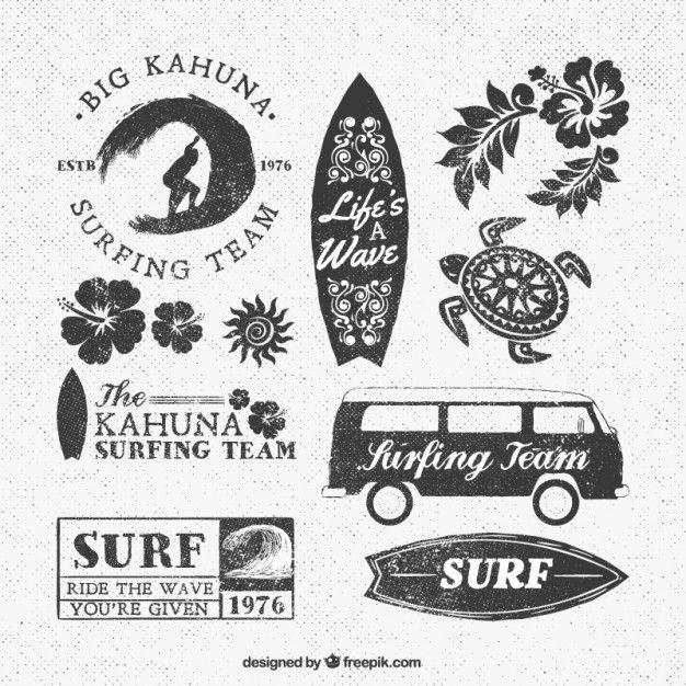 Logotipos da equipe Surf Vetor grátis