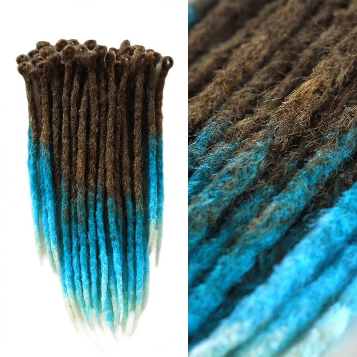 HANDMADE TEMPORARY SYNTHETIC BROWN DREADLOCKS Crocheted Kanekalon Fake Braid Dreads Brown Mix Fakes Boho Hippie Natural Blue Ombre Turquoise Style Temporary