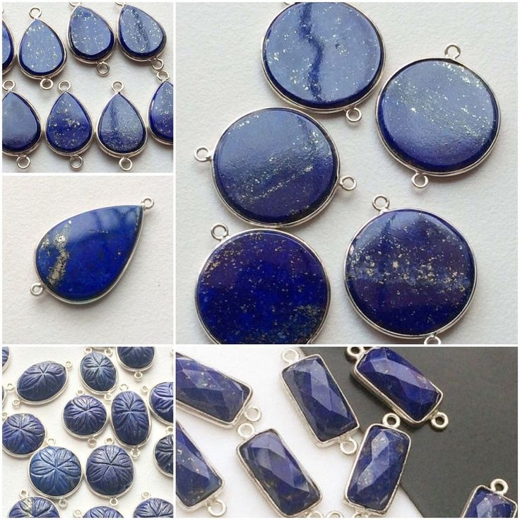 A beautiful range of Lapis Lazuli Connectors in different shapes and sizes. All made in 925 Silver. Convo me for any customisation. Shop Now - only on Gemsforjewels! Flat 50% off storewide!