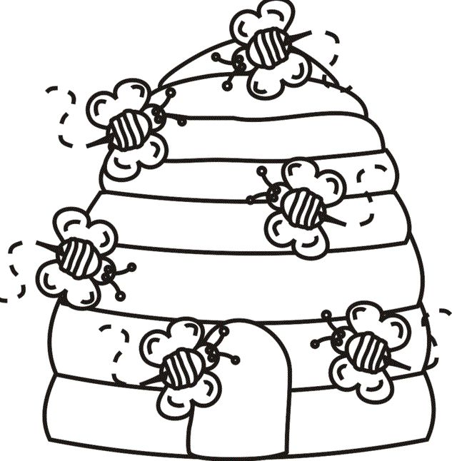 Bee Hive Coloring Pages For Kids Printable Bees