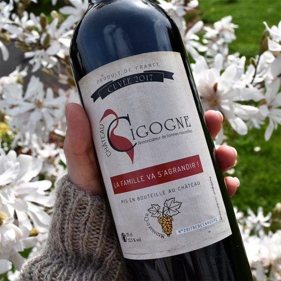 Annonce grossesse originale : étiquette bouteille de vin ! Chateau Cigogne cuvée 2017