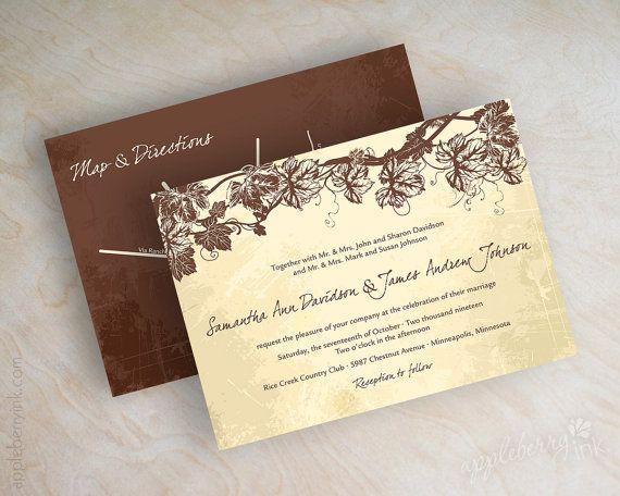 Vineyard wedding invitations, wine vines in ivory, tan and chocolate brown